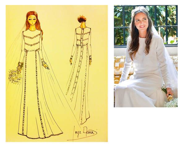 Boceto y vestido de boda Jorge Acuña