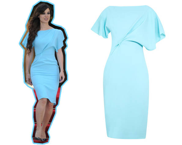 Bérenice Marlohe con vestido azul agua de Roksanda Ilincic y vestido de Roksanda Ilincic para 24fab