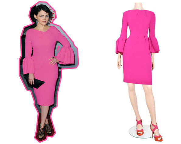 Ginnifer Godwin con vestido fucsia de Roksanda Ilincic y vestido de Roksanda Ilincic para 24fab