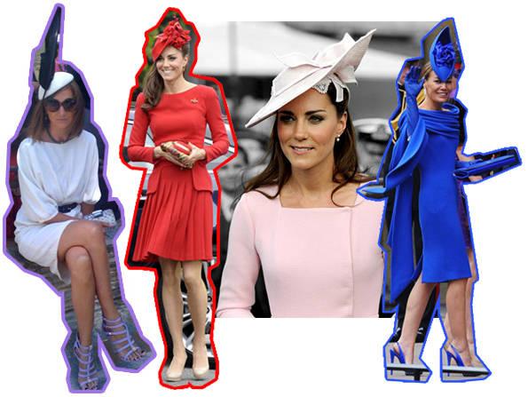 Anabel Zamora de B&W y tocado de Phillpi Treacy para 24fab, Kate Middleton con vestido rojo de McQueen, Kate Middleton de rosa palo y look de boda azul Klein