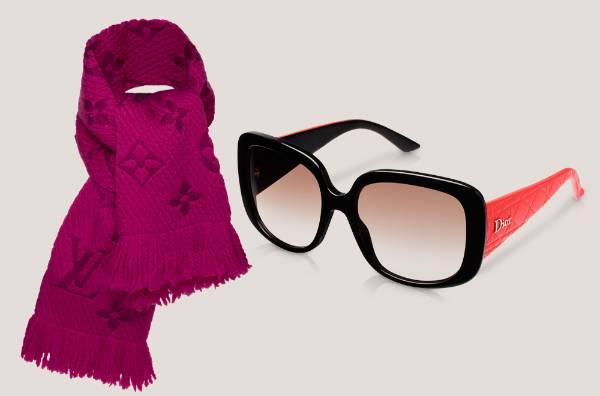 Bufanda Vuitton y gafas Dior