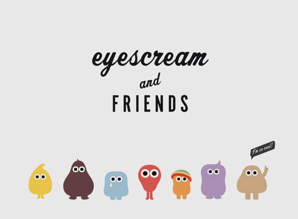 La familia de monstruitos de sabores de eyescream and FRIENDS al completo
