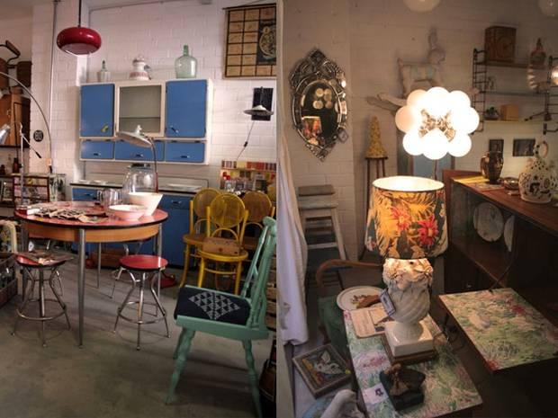 Dos zonas de la tienda en la que vemos ideas para una cocina y para el salón