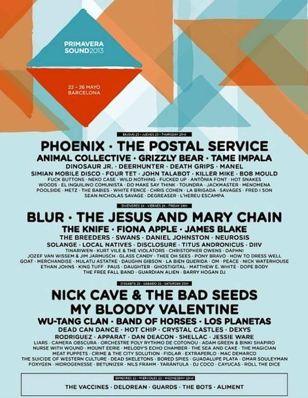 Cartel del Primavera Sound 2013