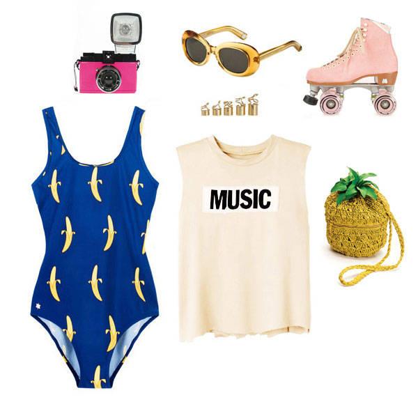 Camara de Lomography Gafas de Marc Jacobs Patines de Moxi Anillos de Balenciaga Bañador de Kling Camiseta de Acne Bolso de H&M
