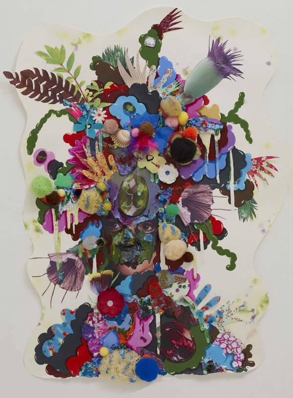 Galerie Dukan. Alicia Paz. Fern Head. 201. Técnica mixta sobre papel, 67.5 x 48.5 x 4 cm.