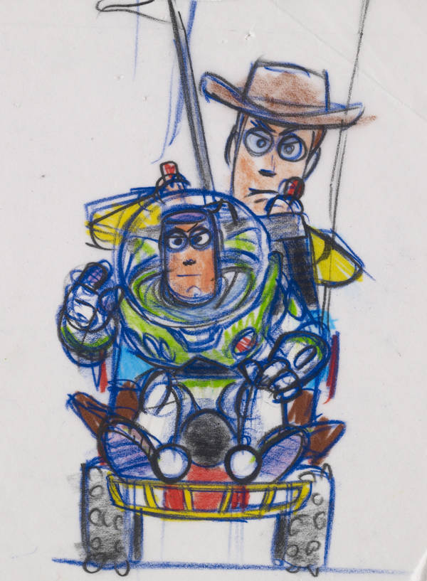 Woody y Buzz (Toy Story, 1995). Bob Pauley. Reproducción a rotulador y lápiz.