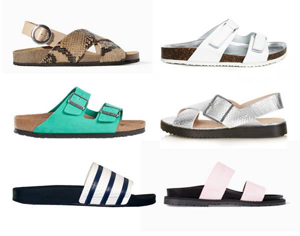 A la izquierda, sandalias de Zara, Birckenstock y Adidas. A la derecha, las propuestas de Asos, Topshop y Zara.