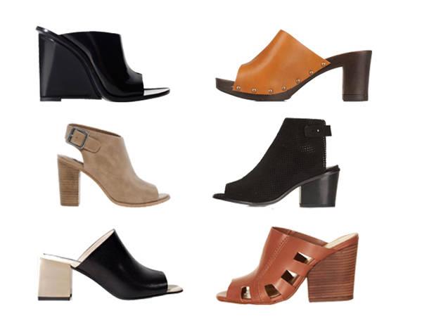 A la izquierda, modelos de Zara (primero y último) y London Rebel. A la derecha, zapatos de Georgia Rose (primero) y Topshop.