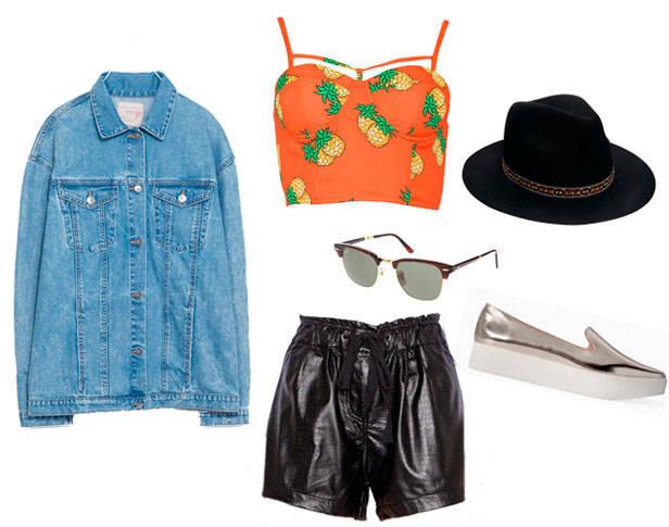 Cazadora de ZARA, top y shorts de PIXIE MARKET, gafas de sol RAY-BAN, sombrero de ASOS, slip-on sneakers de ZARA.