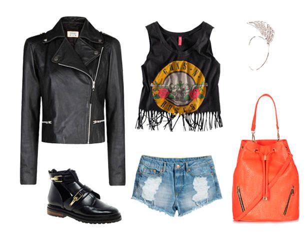 Perfecto de MANGO, top y shorts de H&M, botines de ASOS, ear cuff de PIXIE MARKET y bolso de TOPSHOP.