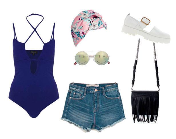 Body de TOPSHOP; turbante de ASOS; gafas, shorts y bolso de ZARA y zapatos de AURORA VAGABOND.