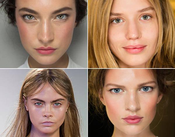 Dolce & Gabbana (primera y cuarta foto), Balmain y Peter Pilotto apostaron por los rostros naturales y frescos en sus colecciones primavera-verano 2014.