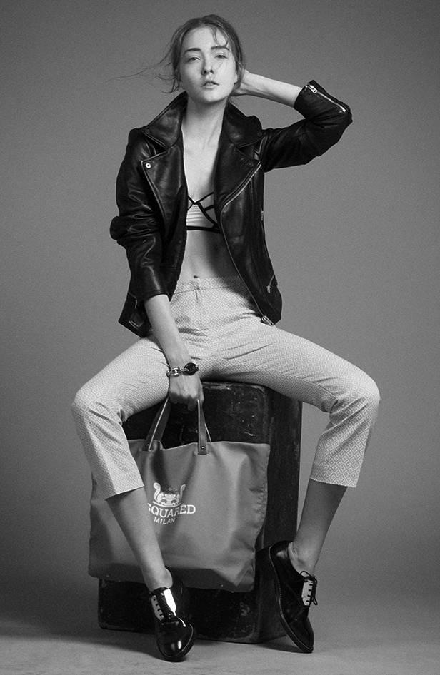 Perfecto negra de G-STAR Pantalones MAX MARA POR FELGAR.ES Sujetador tricolor de UNDIZ Zapatos negros masculinos de SANDRO Bolso rosa de DSQUARED2