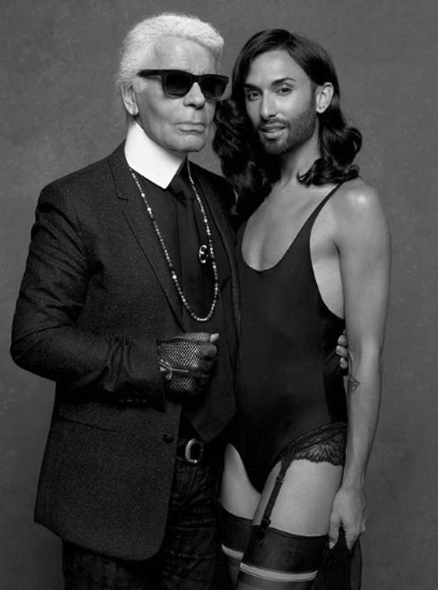 Karl Lagerfeld y Conchita Wurst.