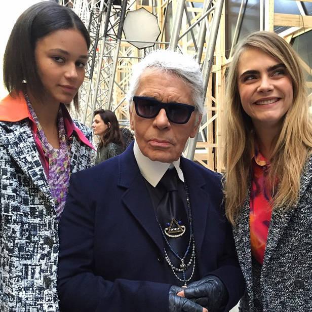 Binx Walton, Karl Lagerfeld y Cara Delevingne @caradelevingne