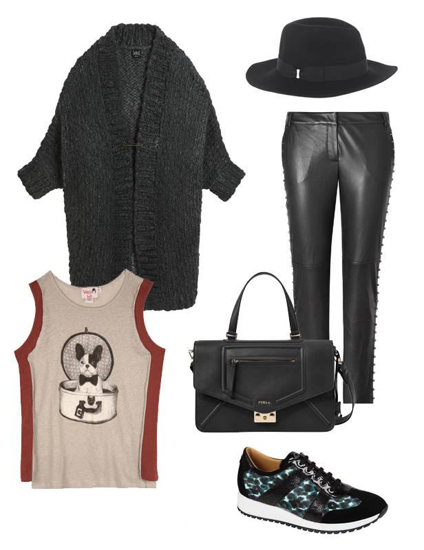 Camiseta Dolores Promesas. Pantalón Mango, Chaqueta Swildens. Deportivas Longchamp. Bolso Furla. Sombrero Accessorize.