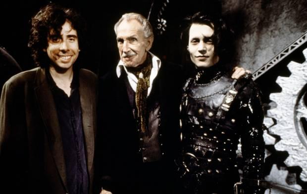 De izquierda a derecha: Tim Burton, Vincent Price y Johnny Depp durante el rodaje de
