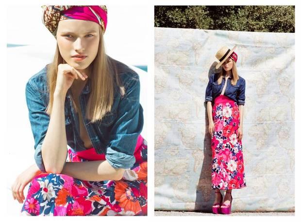 Canotier H&M, bandana Mama África, camisa Zara, falda Magpige y zapatos Jeffrey Campbell