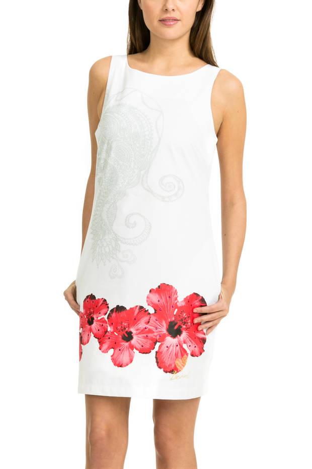 Vestido blanco con detalles florales de Desigual