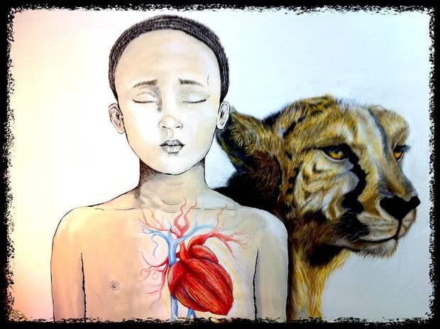 """Este cuadro se titula """"No seas mente, sé corazón"""" . Me gusta trabajar sobre animales porque una parte de mi les envidia por tener una mente tan calmada, no como la nuestra que esta siempre a cien y pensando en mil cosas"""