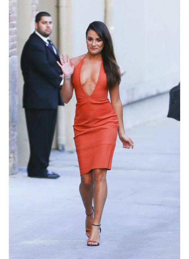 lea-michele-little-orange-dress-jimmy-kimmel-carlos-piaggion-akm-gsi__width_580