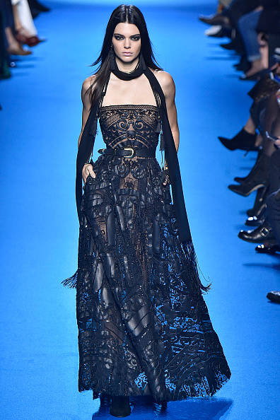 PARIS, FRANCE - MARCH 05: Kendall Jenner walks the runway during the Elie Saab fashion show as part of the Paris Fashion Week Womenswear Fall/Winter 2016/2017 on March 5, 2016 in Paris, France. (Photo by Victor VIRGILE/Gamma-Rapho via Getty Images)