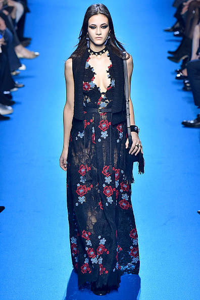 PARIS, FRANCE - MARCH 05: A model walks the runway during the Elie Saab fashion show as part of the Paris Fashion Week Womenswear Fall/Winter 2016/2017 on March 5, 2016 in Paris, France. (Photo by Victor VIRGILE/Gamma-Rapho via Getty Images)