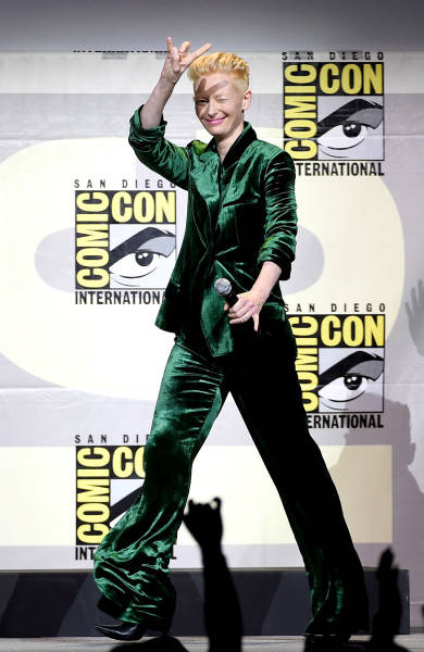 SAN DIEGO, CA - JULY 23: Actress Tilda Swinton attends the Marvel Studios presentation during Comic-Con International 2016 at San Diego Convention Center on July 23, 2016 in San Diego, California. (Photo by Kevin Winter/Getty Images)