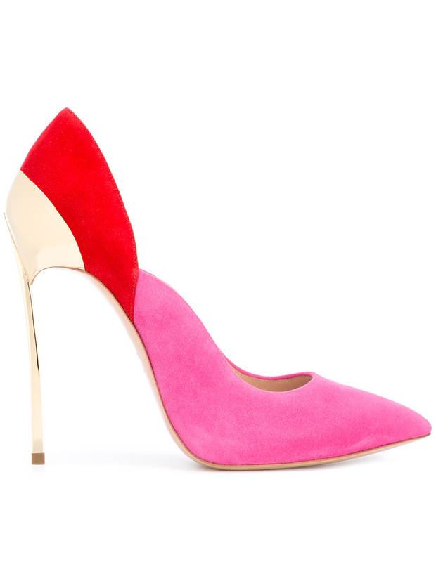 zapato rosa y rojo