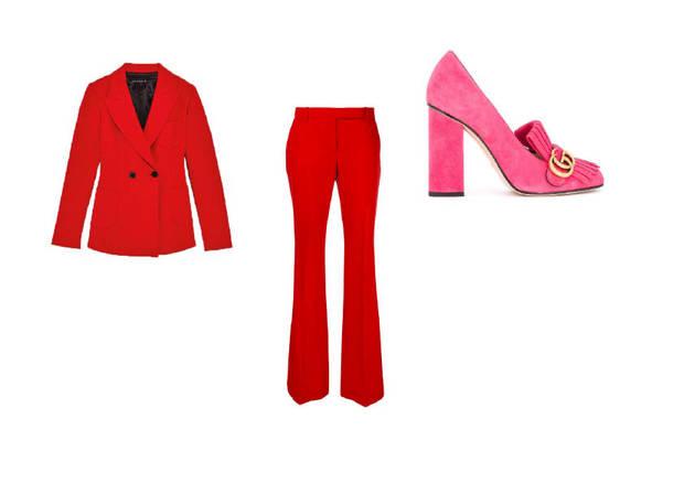 traje rojo zapatos rosa