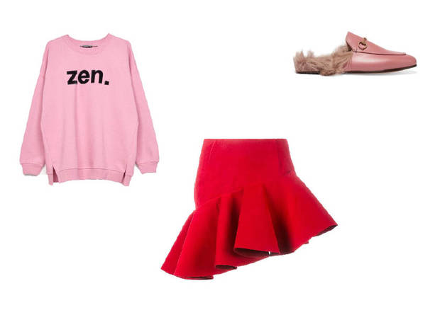 rosa y rojo