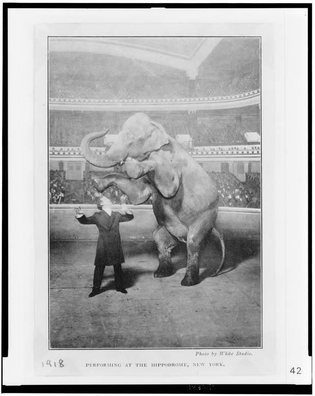 Houdini y Jennie, la elefanta, actuando en el Hippodrome de Nueva York (Library of Congress)