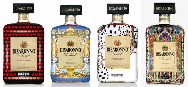 De Izda. a Dcha., los diseños de Moschino, Versace, Cavalli y Etro © Disaronno