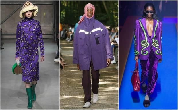Looks en clave Ultra Violet de Marni –otoño-invierno 2017-, Balenciaga y Gucci –primavera-verano 2018-.