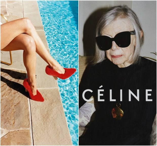 A la Izda., imagen de la campaña primavera-verano 2013, con los famosos zapatos feístas y a la dcha., Joan Didion. Ambas fotografías de Juergen Teller.