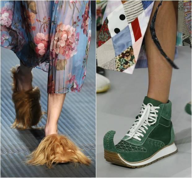 Diseños de Gucci (Izda.) y Loewe
