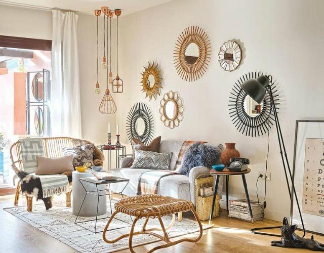 Cómo decorar con espejos para que tu casa se llene de sol - image diy-espejo-rey-sol-con-bambu-14 on https://www.vanidad.es